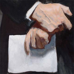 A painting of a man's hands holding a piece of paper