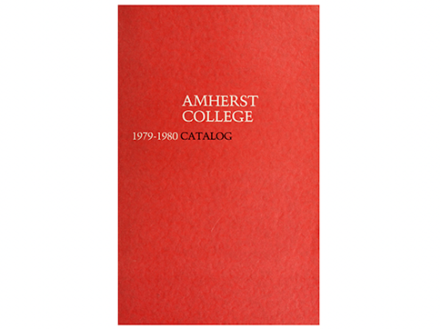 """A red bool cover that says """"Amherst College 1979-1980"""""""