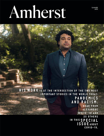 The cover of Amherst Magazine with a man standing in shade under trees