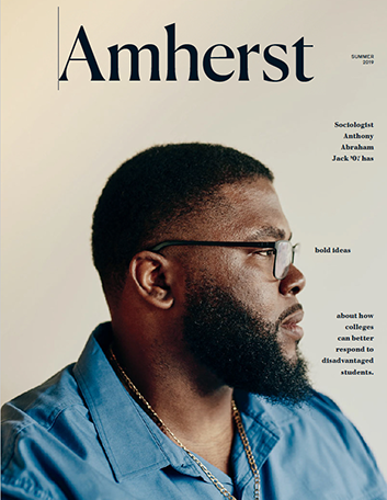 Anthony Jack on the cover of Amherst magazine, summer 2019