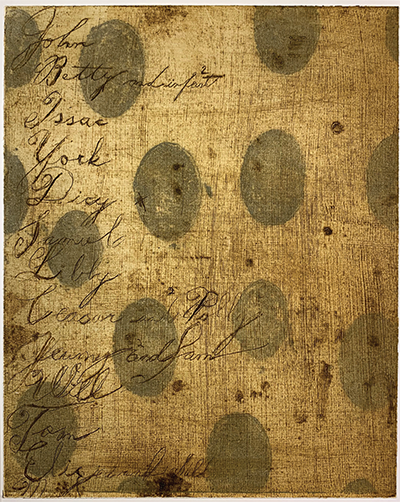 A piece of cloth with names written in cursive writing