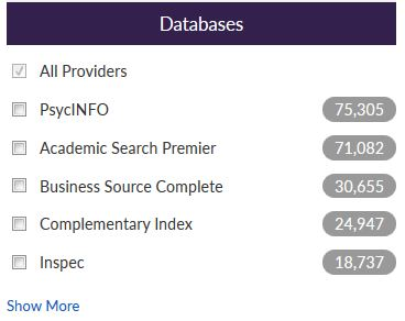 screenshot of Discover databases limiter, with All Providers, PsycINFO, and other databases listed as checkboxes
