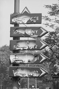 Destroyed roadsigns in Prague