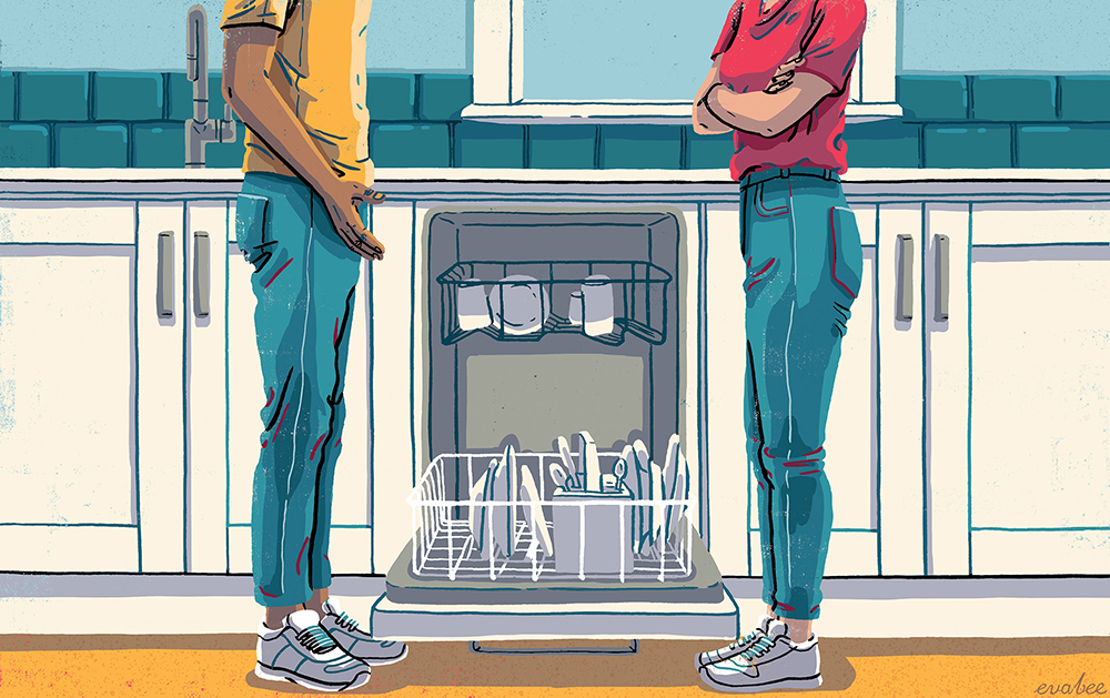 An illustration of two people in a kitchen standing in front of an open dishwater