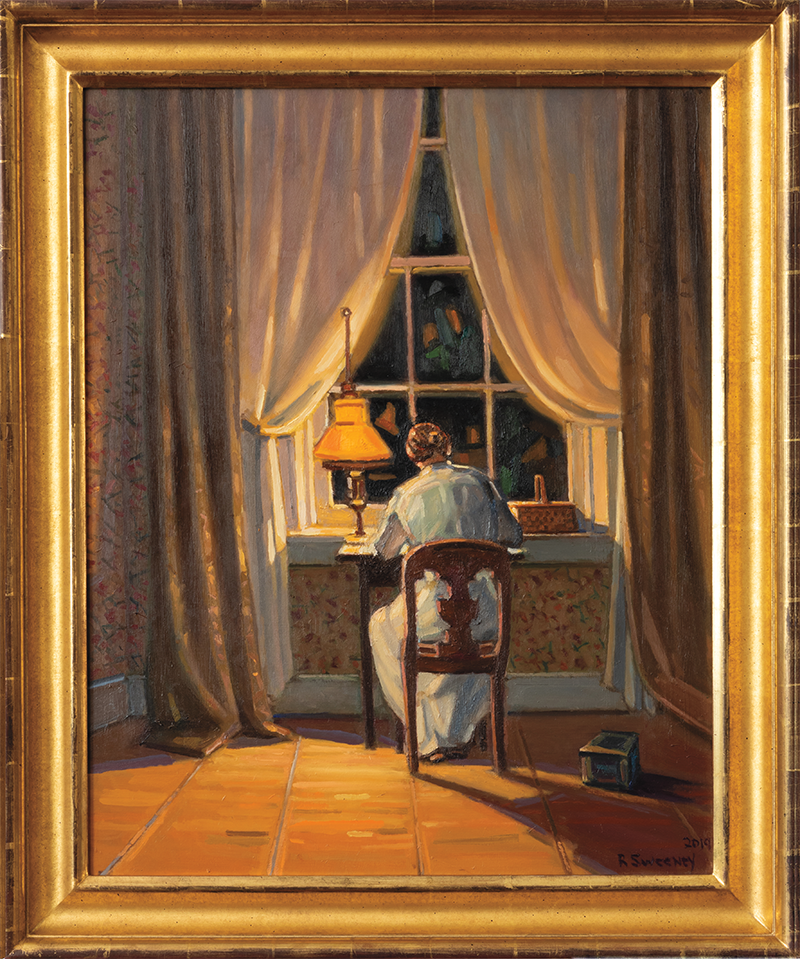 A painting of Emily Dickinson from within her lamp-lit room