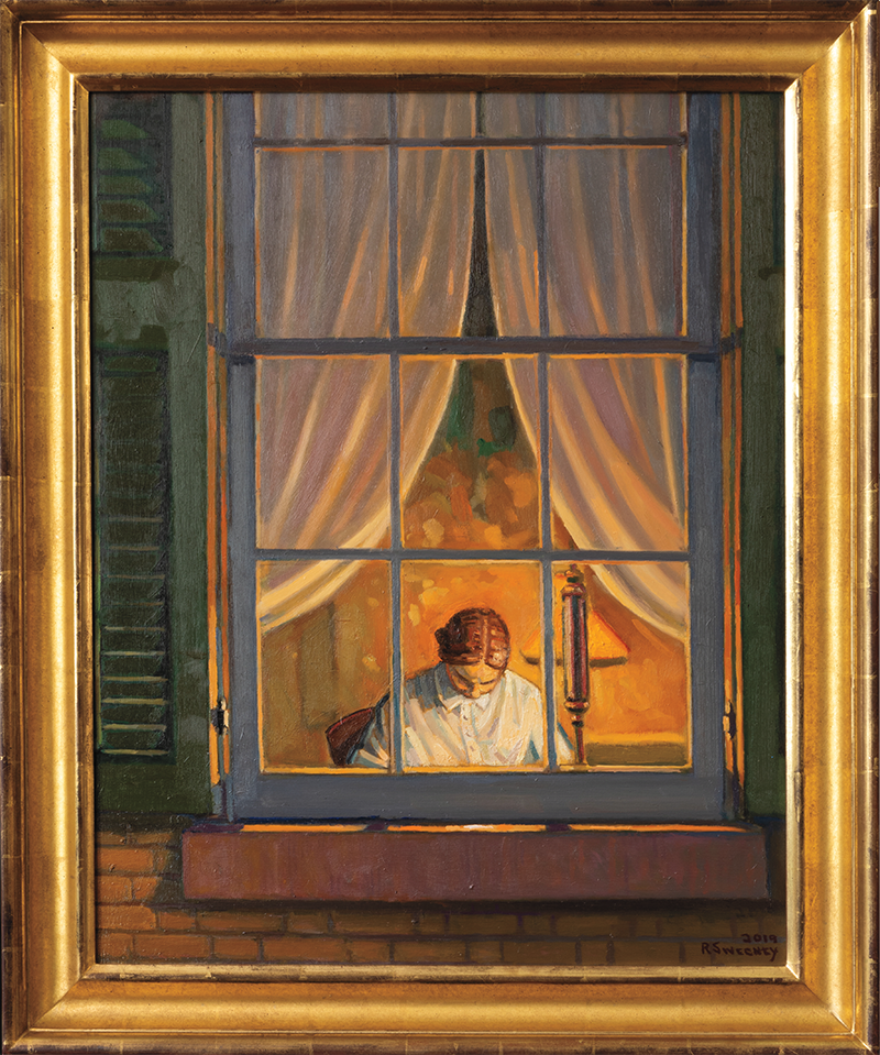 A painting of Emily Dickinson from outside her lamp-lit room