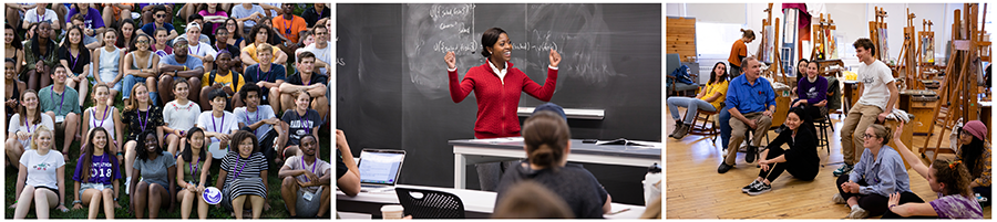 Three photos of a group of students, a professor in a red sweater in front of a blackboard and students in an art studio