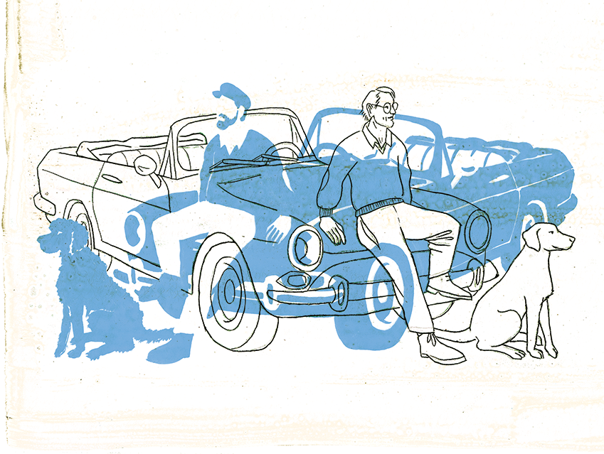 An illustration of a man leaning against a car with his dog