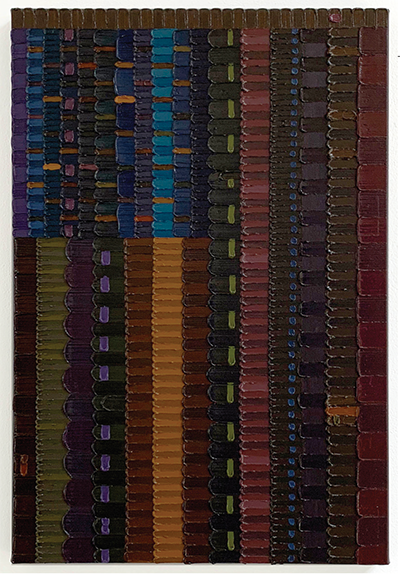 A vertical portrait painting of different colors that resemble an abstract flag