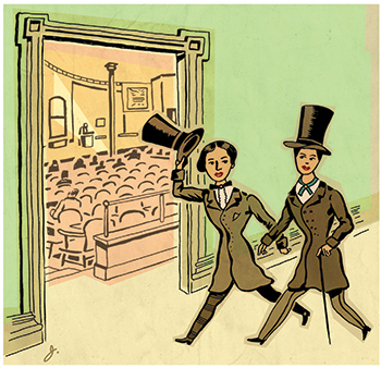 An illustration of two people in coats and top hats from the 1800s walking into a theater