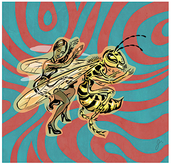 An illustration of a woman dancing with a giant bee