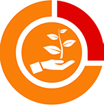A logo with a hand holding a branch with leaves
