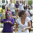 Students on the CCE orientation trip dancing outside