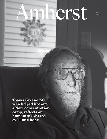 The cover of the fall 2019 Amherst Magazine, a black and white photo of an older man
