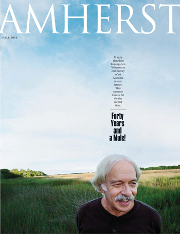 Fall 2014 magazine cover: Theodore Resengarten '66 standing in field