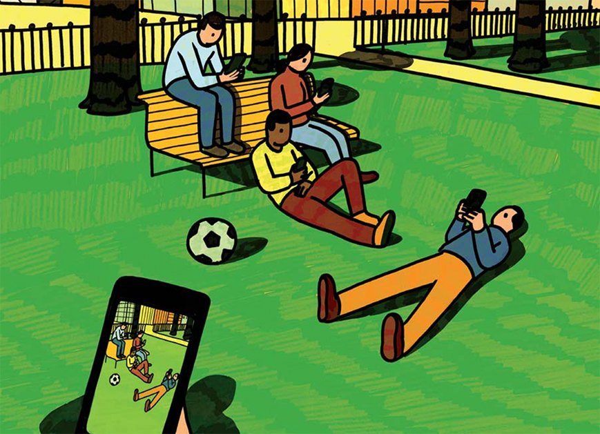 An illustration of a cellphone taking a picture of people in the park on their cellphones