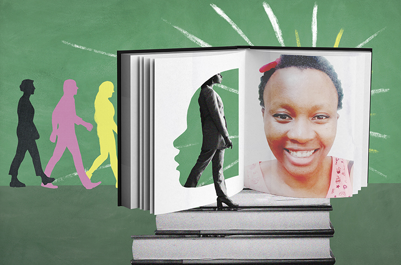 An illustration of people walking into a book with a portrait of a woman's face
