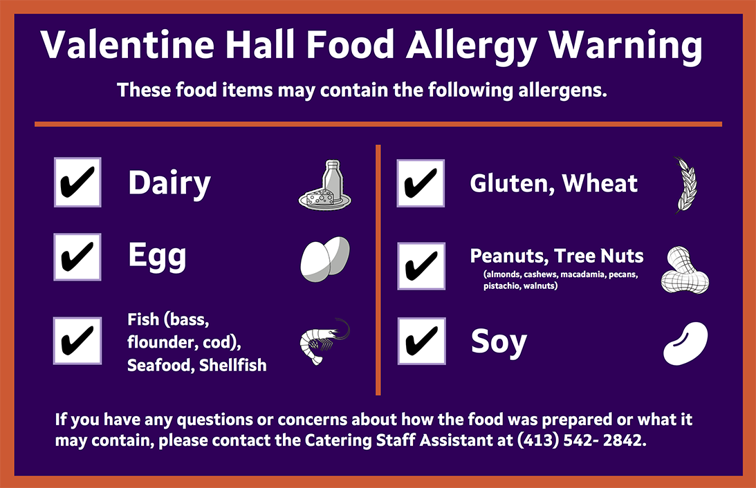 The food allergy warning graphic that outlines the different allergens explained in the page's text