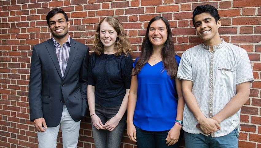 Fulbrights Soham Gupta, Emma Hartman, Kathryn McHenry, and Tomal Hossain