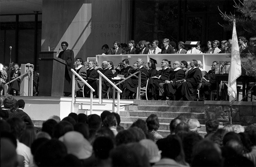 George Johnson delivering a commencement address in  1973 in front of Frost Library at Amherst College