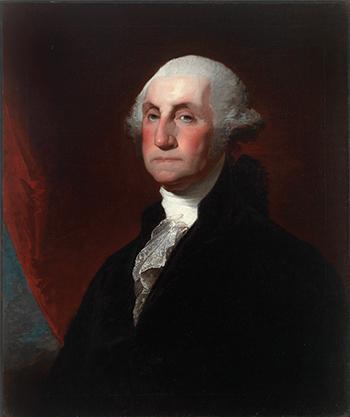 A portrait painting of President George Washington