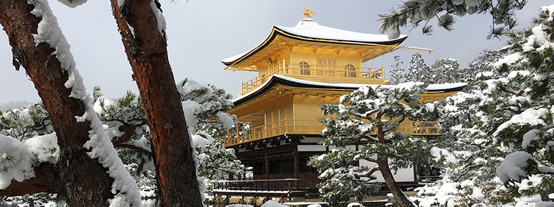 A golden pavilion amongst snow-covered trees