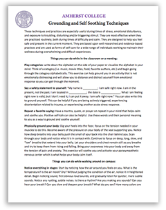 Grounding and Self Soothing Techniques: Click to view PDF