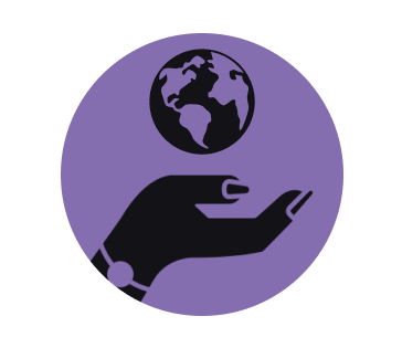 icon of a hand holding a globe