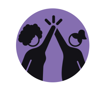 icon of two women holding and raising their hands