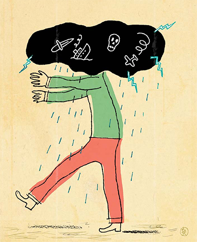 An illustration of a man with his head in a thundercloud