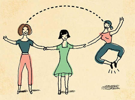 An illustration of three women holding hands