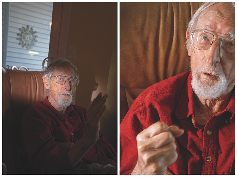 Two photos of an older man with a white beard speaking to someone off-camera