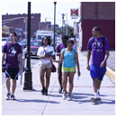 students on CCE orientation trip walking around downtown holyoke