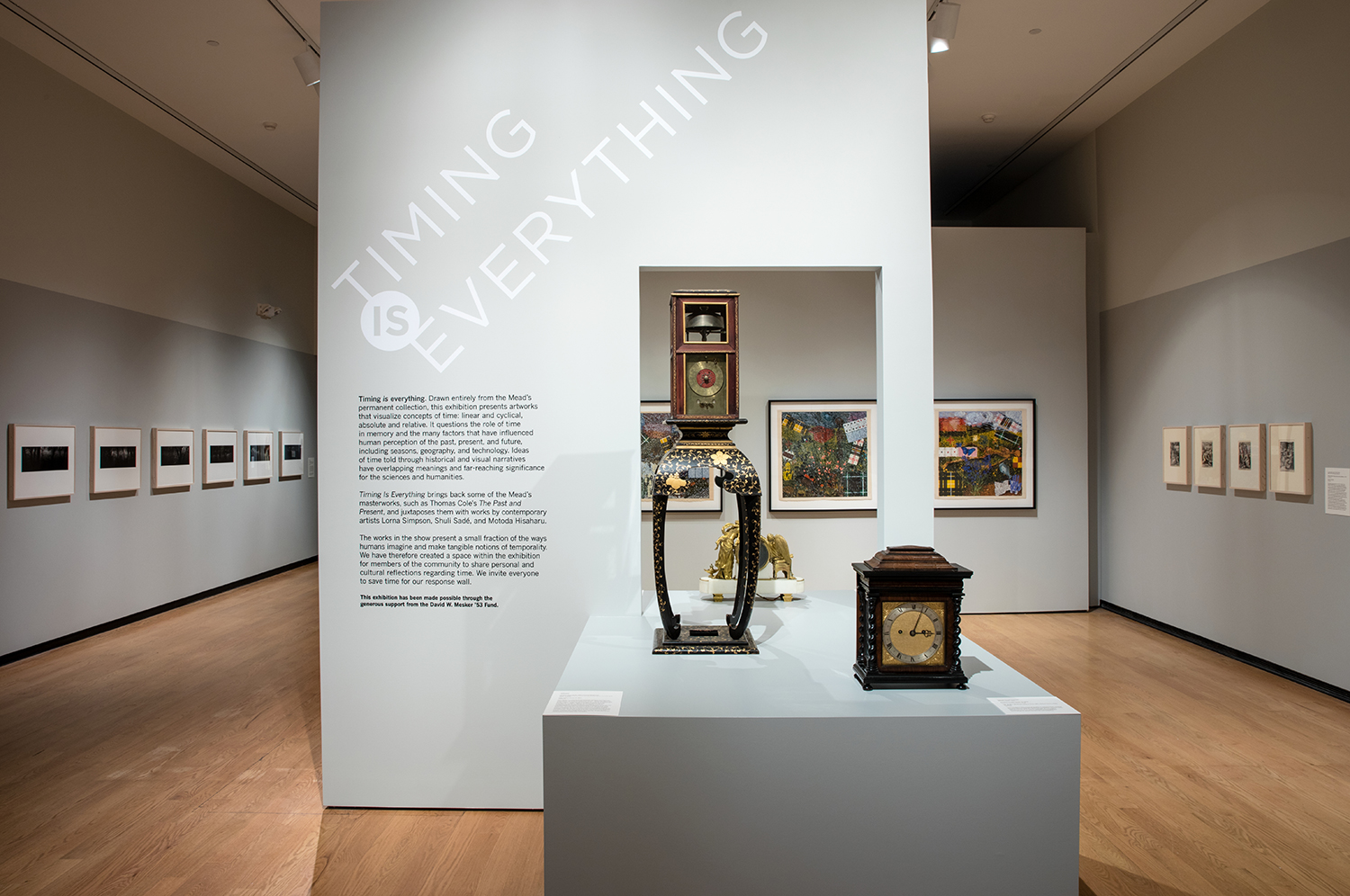 Installation view of the Timing is Everything exhibit at Mead Art Museum