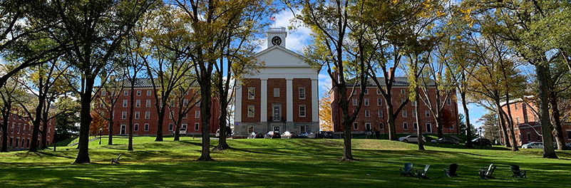 Johnson Chapel on a sunny day from the Amherst College quad