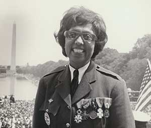 JOSEPHINE BAKER WEARING HER MEDALS FROM HER SERVICE IN THE FRENCH RESISTANCE DURING WORLD WAR II, AT THE MARCH ON WASHINGTON, 19