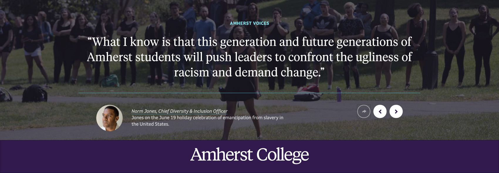 students protesting on the Amherst College quad