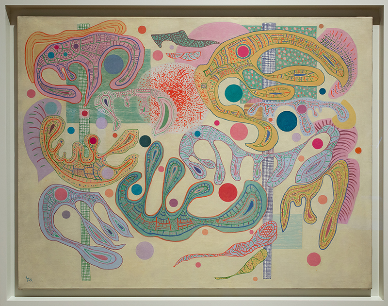 An abstract painting of a swirling color