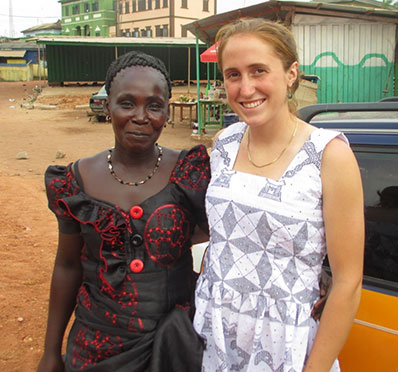 Keri Lamber poses with host and friend Ruth in Takodai, Ghana