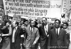 March 25 1967: civil rights leader Dr. Martin Luther King, Jr. led 5,000 people down State Street in Chicago to protest the war