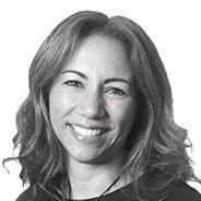 A black and white photo of Chantal Kordula