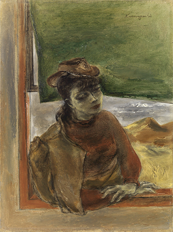 A muted-color painting of a woman wearing a dress leaning on a window