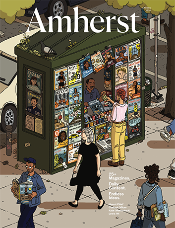 The cover of Amherst Magazine showing an illustration of a city newsstand with people walking past