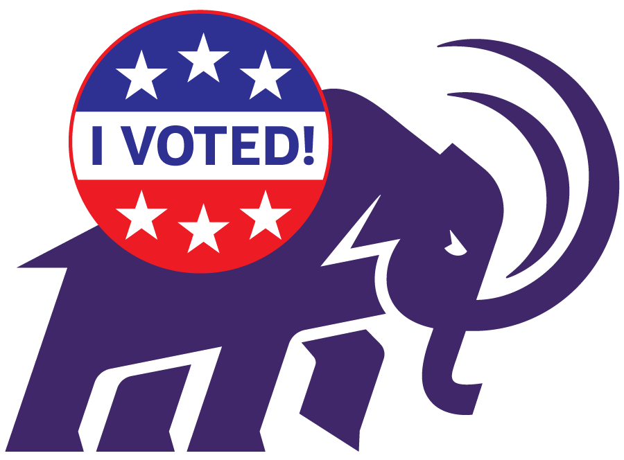 mammoth wears button that says I voted