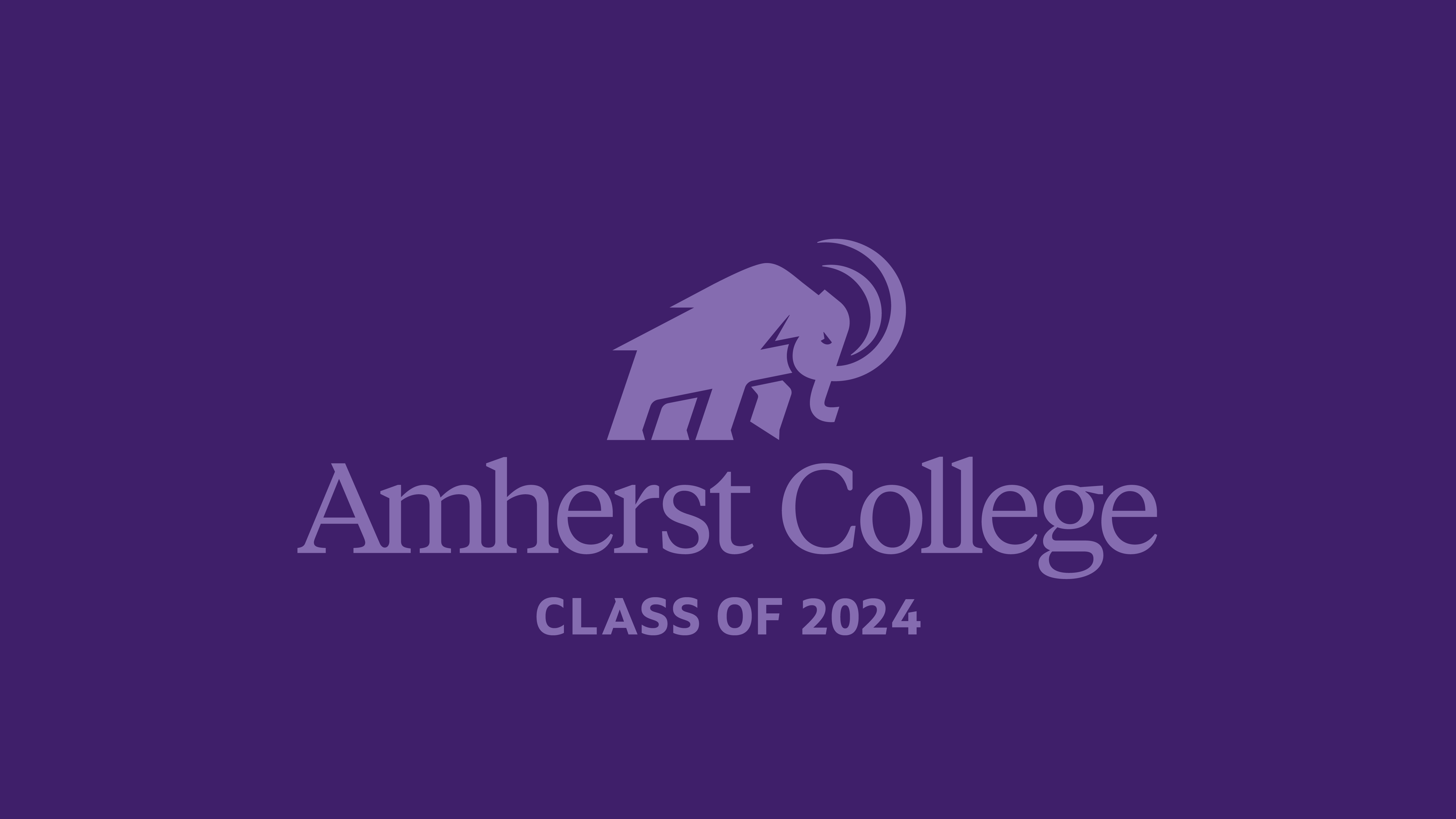 Amherst College Class of 2024 purple background with mammoth