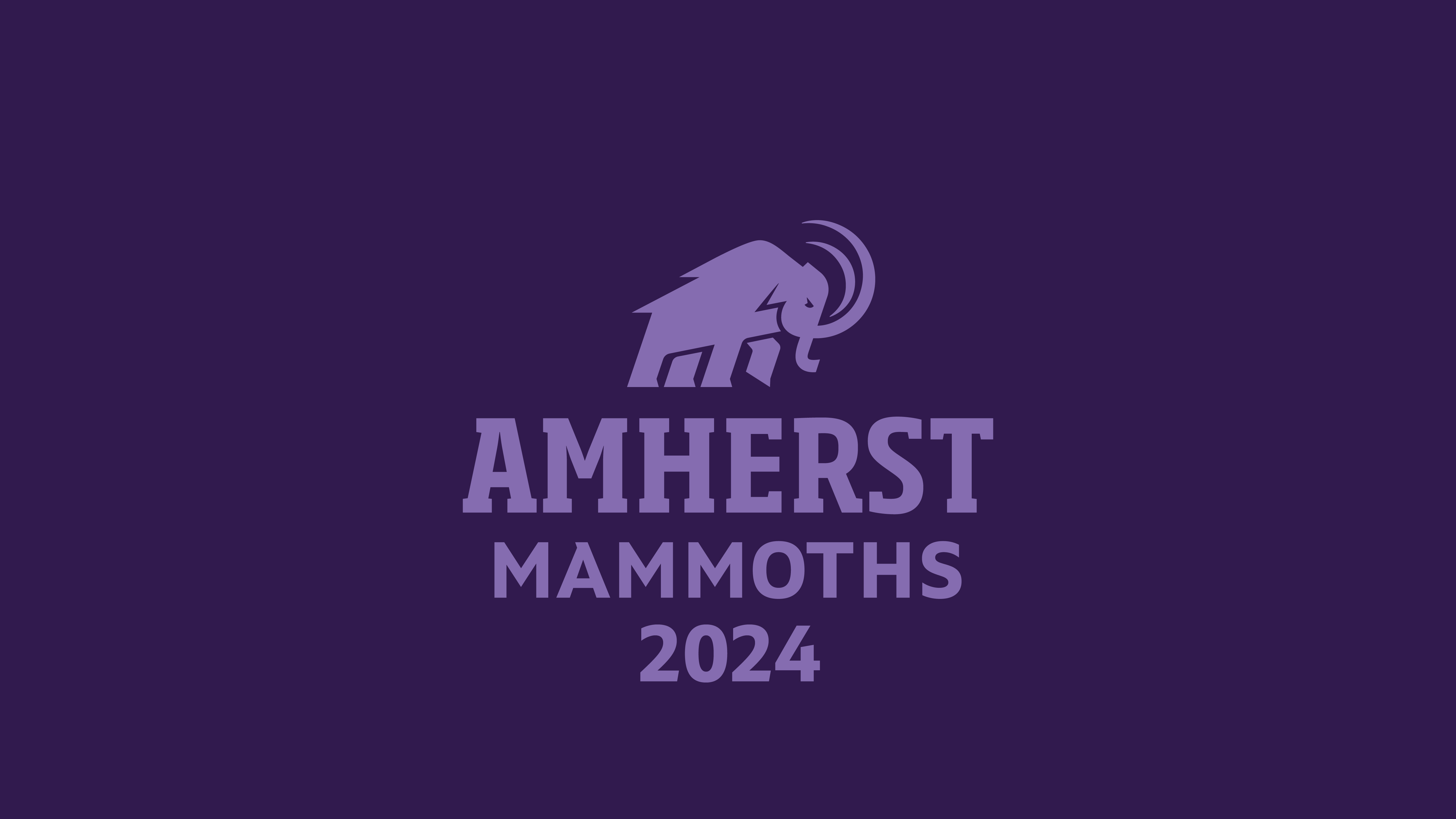 Amherst Mammoths Class of 2024 purple background with mammoth