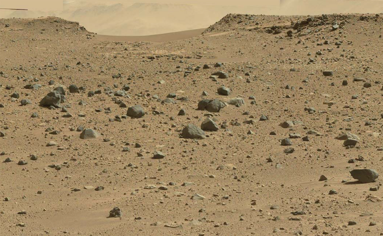 The red surface of Mars with mountains in the distance