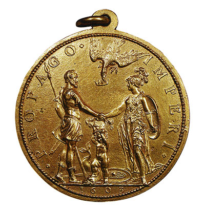 Bronze medal by Dupre that shows King Henry and Queen Marie facing each other, shaking hands.