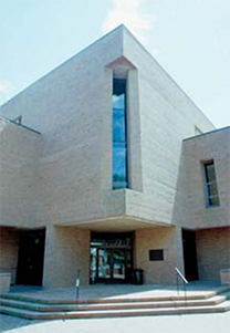 A corner of the exterior of the Merrill Science Center