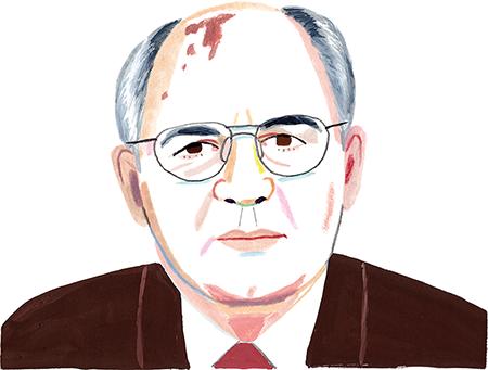Illustration of Gorbachev by Rebecca Clarke